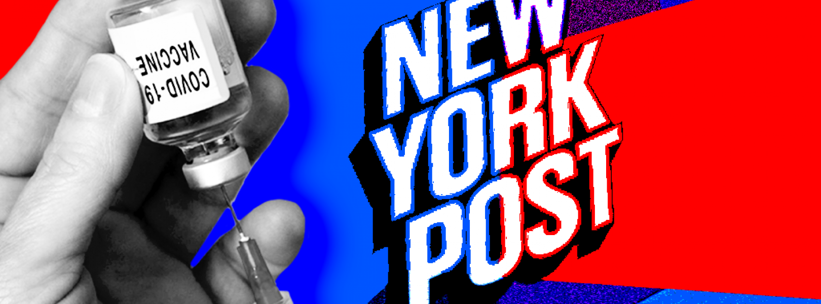 A New York Post logo with a vaccine