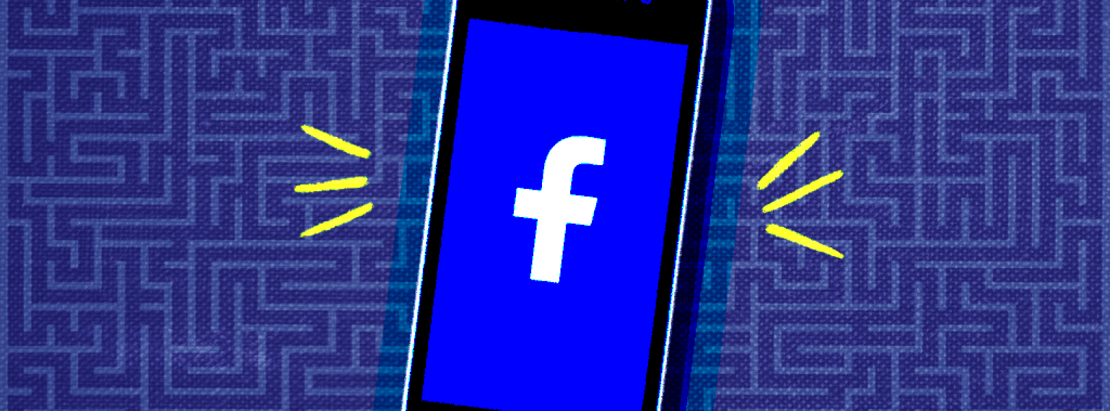 Graphic of a smartphone with the facebook logo on the screen