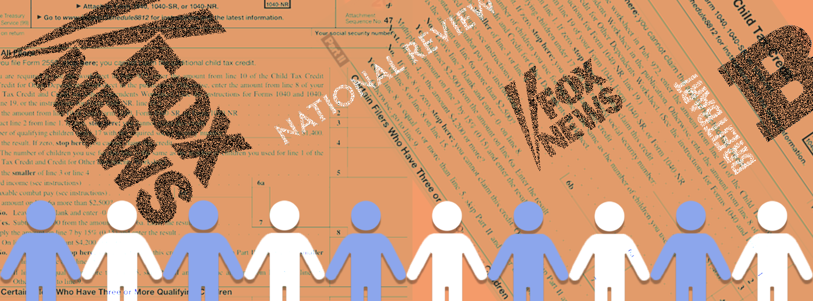 Graphics of children line the bottom of headlines and logos of right-wing media organizations