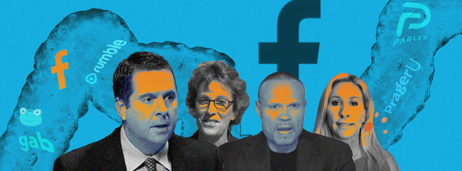 Marjorie Taylor Greene, Dan Bongino, Wendy Rogers, and Devin Nunes over a blue background showing the names of fringe social platforms