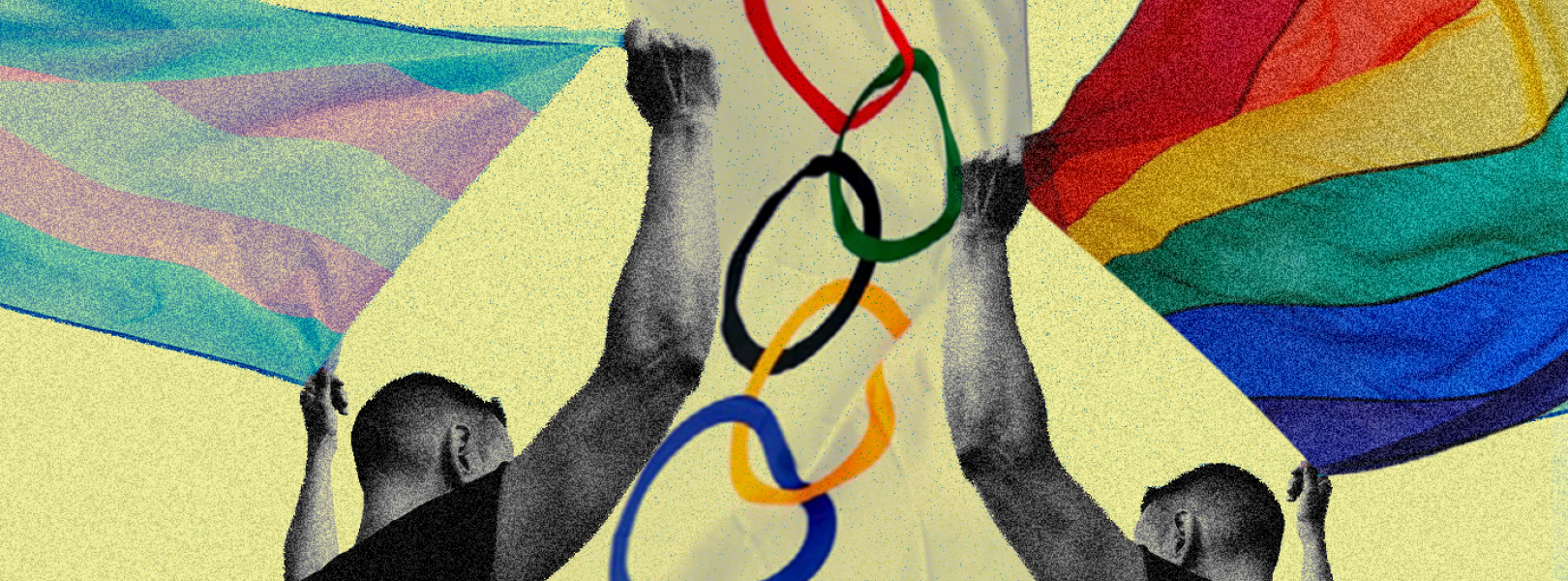 Two people holding olympic, LGBTQ, and trans flags