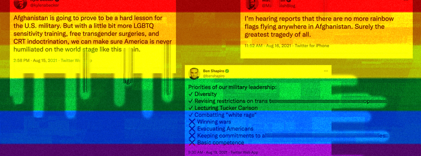 Rainbow pride flag with tweets from Kyle Becker, Ben Shapiro, and Matt Walsh superimposed onto it