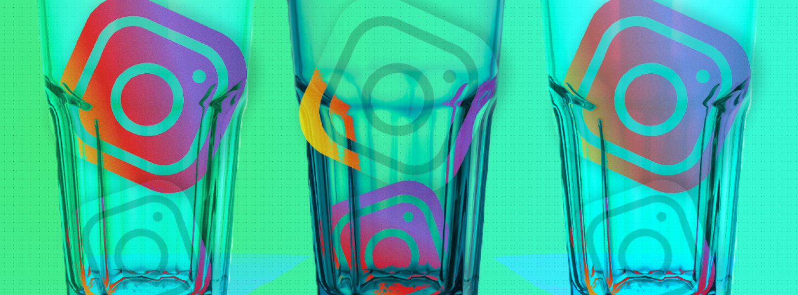 A green background with three cups holding the Instagram logo in them