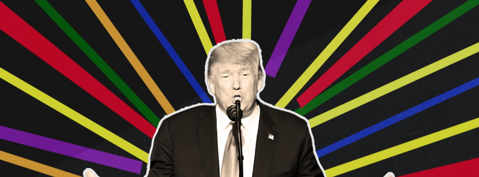 Trump with rainbow lines