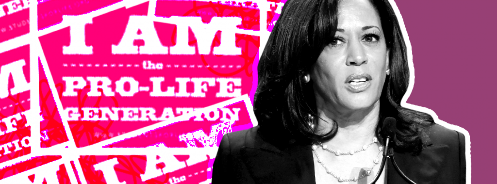 "Image of Kamala Harris in front of ""I am the pro-life generation"" signs"