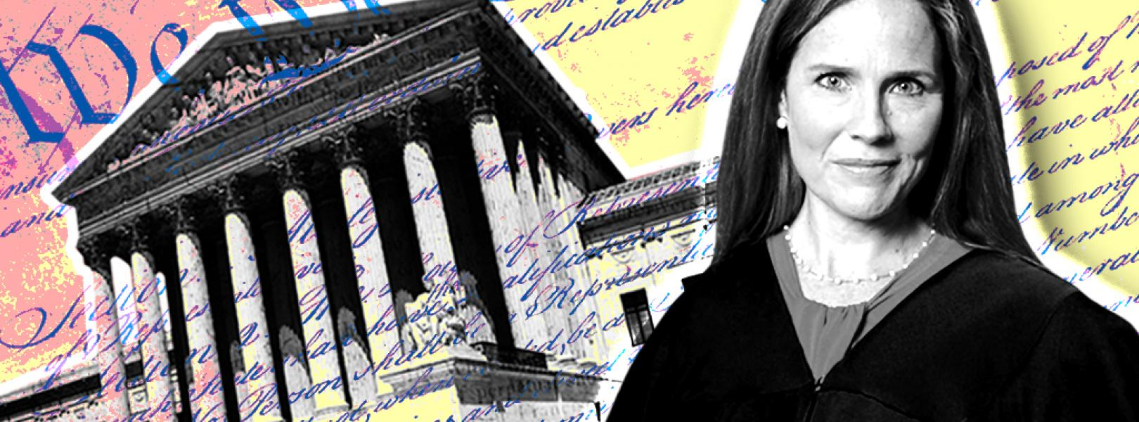 image of Amy Coney Barrett next to the Supreme Court