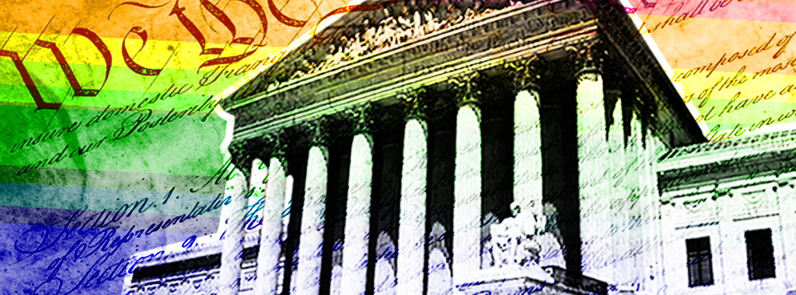 Supreme Court with rainbow