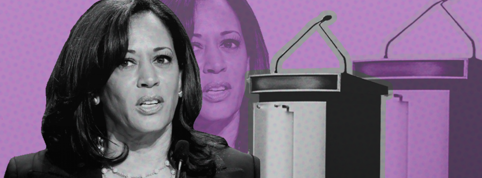 Stylized image of Kamala Harris with podiums