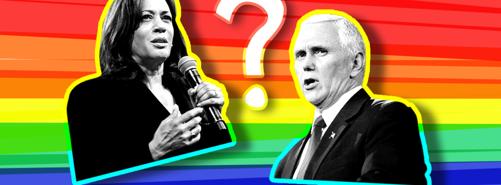 Kamala Harris and Mike Pence in front of a rainbow background