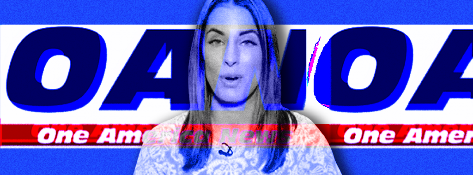 A blue-tinted, partially transparent image of OAN correspondent Christina Bobb layered on top of two overlapping One America News logos