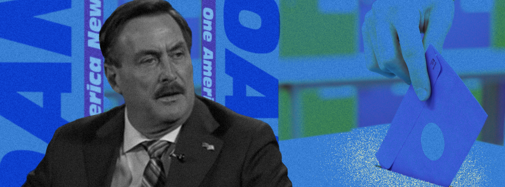 A grayed image of MyPillow CEO Mike Lindell with a backdrop of predominantly blue OAN logos, and, to the right, a ballot being inserted into a drop box.