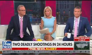 Fox & Friends hosts Steve Doocy, Ainsley Earhardt, and Pete Hegseth