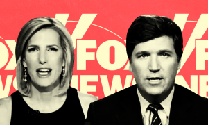 Fox hosts Tucker Carlson and Laura Ingraham in front of Fox News logo