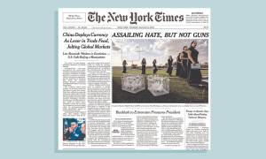 "The New York Times front page (2nd edition, print) for August 6, 2019, with headline reading ""Assailing hate, but not guns"""