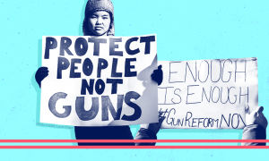"Protest signs that say ""protect people not guns"" and ""enough is enough"""