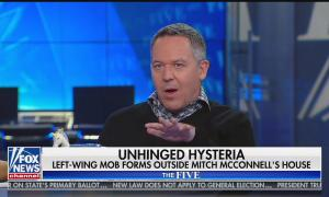 "Greg Gutfeld is sitting at The Five desk with chyron reading ""unhinged hysteria"""
