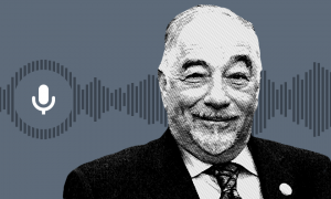 Black and white image of right-wing talk radio host Michael Savage.