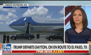 """A Fox News screenshot of Air Force One awaiting President Donald J. Trump's arrival, split-screened with Fox studio guest ALexandra Wilkes. Chyron reads """"Trump departs Dayton, OH en route to El Paso, TX."""""""