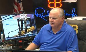 Rush Limbaugh sitting in his studio