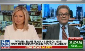 "Art Laffer and Sandra Smith criticizing Warren for invoking Reagan's ""nine most terrifying words"""