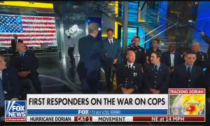Fox & Friends co-host with live studio audience of first responders