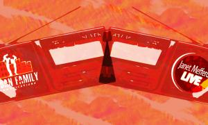 Two red radios with the Urban Family Communications and Janet Mefferd Live logo