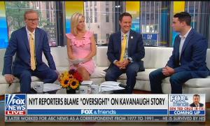 Ben Shapiro with Fox & Friends co-hosts Steve Doocy, Ainsley Earhardt, and Brian Kilmeade