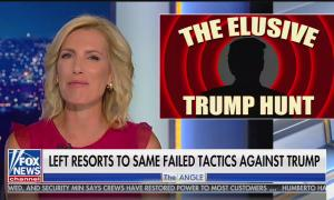 """Laura Ingraham's Angle, chyron reads """"left resorts to same failed tactics against Trump"""""""