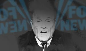 Rudy Giuliani in grayscale, fading into a grat-black background with the Fox News logo on both sides, reversed on the left.