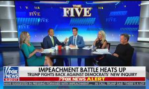 "The Five panel argues, chyron reads: ""Impeachment battle heats up, Trump fights back against Democrat's new inquiry"""