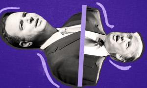 Donald Trump and Adam Schiff on a purple background
