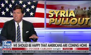 "Tucker Carlson talks about pulling troops out of Syria, chyron reads: ""withdrawing troops from northern syria"""