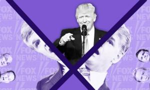 Trump and Fox News personalities on a purple background