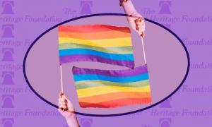 Heritage Foundation and LGBTQ flags