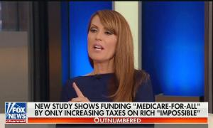 "Fox Business anchor Dagen McDowell gesticulating mid-sentence above a chyron reading, ""New study shows funding 'Medicare-for-all' by only increasing taxes on rich 'impossible'"""