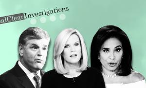 Sean Hannity, Martha MacCallum and Jeanine Pirro on a green background
