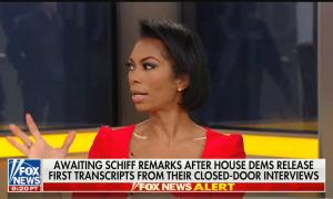 """Harris Faulkner gesticulating mid-sentence above a chyron reading, """"Awaiting Schiff remarks after House Dems release first transcripts from their closed-door interviews"""""""