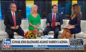 Fox & Friends co-hosts Steve Doocy, Ainsley Earhardt, and Brian Kilmeade with Fox Business reporter Susan Li