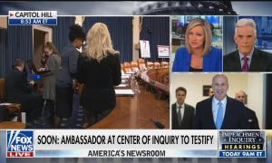Split screens of Capitol Hill, a photo of Gordon Sondland, and Fox's Sandra Smith and John Roberts