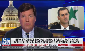 Tucker defending Bashar al-Assad from allegations of war crimes