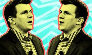 stylized mirror image of James O'Keefe