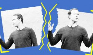 Two photos of Mark Zuckerberg on a blue background