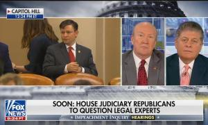 """Fox contributors Andrew McCarthy and Andrew Napolitano on a left-side split-screen, above a chyron reading"""" Soon: House Judiciary Republicans to question legal experts"""""""
