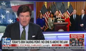 "Tucker Carlson attacks Democrats for impeaching Trump but not punishing ""the so-called homeless"""