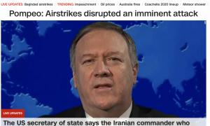 "CNN.com's splash page: ""Pompeo: Airstrikes disrupted an imminent attack"""