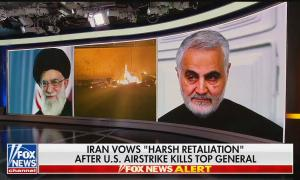 """A Fox News wall graphic of Ayatollah Khamenei, Qassem Soleimani, and wreckage from the US airstrike. Chyron reads """"Iran vows 'harsh retaliation' after U.S. airstrike kills top general"""""""