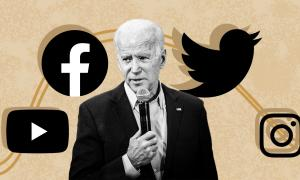Joe Biden with social media logo icons surrounding him