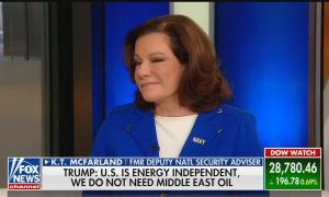 """KT McFarland smirking above a chyron reading """"Trump: U.S. is energy independent, we do not need Middle East oil"""""""
