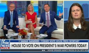 """Fox's Sarah Sanders says she """"can't think of anything dumber than allowing Congress to"""" authorize war"""
