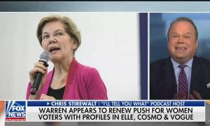 "A photo of Elizabeth Warren speaking on screen right; on screen left is Fox News politics editor Chris Stirewalt. Chyron reads ""Warren appears to renew push for women voters with profiles in Elle, Cosmo & Vogue"""